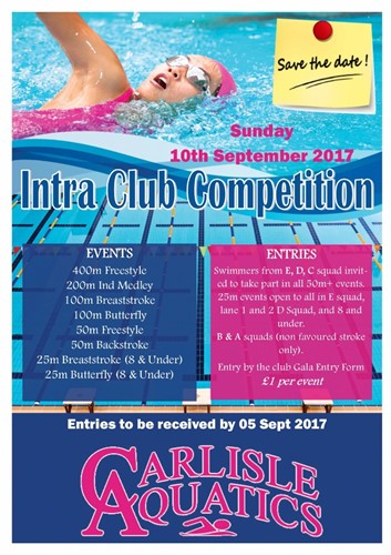Intra Club Competition Sunday 10th September 2017
